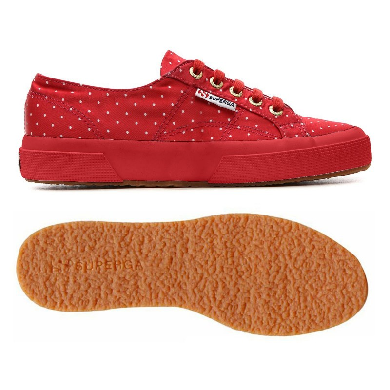 2750-DOTSSATINW, 12910, LE SUPERGA S009HT0 C21 RED-DOTS WH