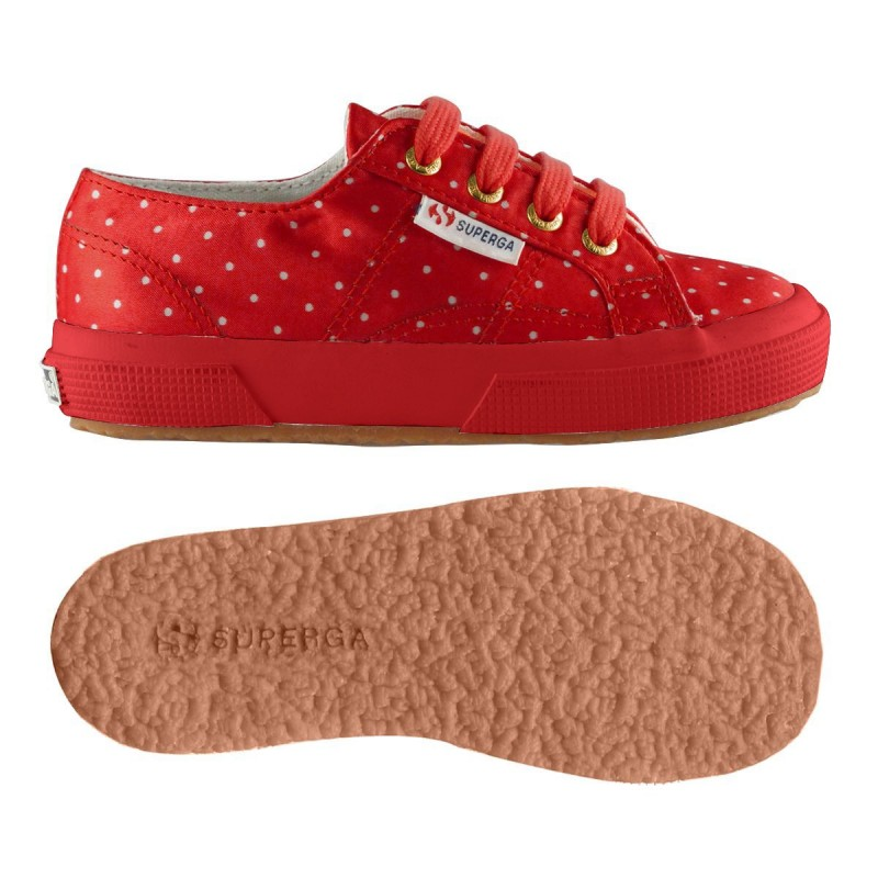 2750-DOTSSATINJ, 14360, LE SUPERGA S009HS0 C21 RED-DOTS WH