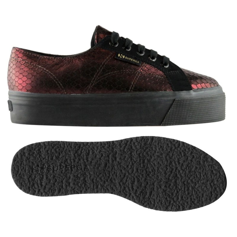 Superga plataforma metal burdeos