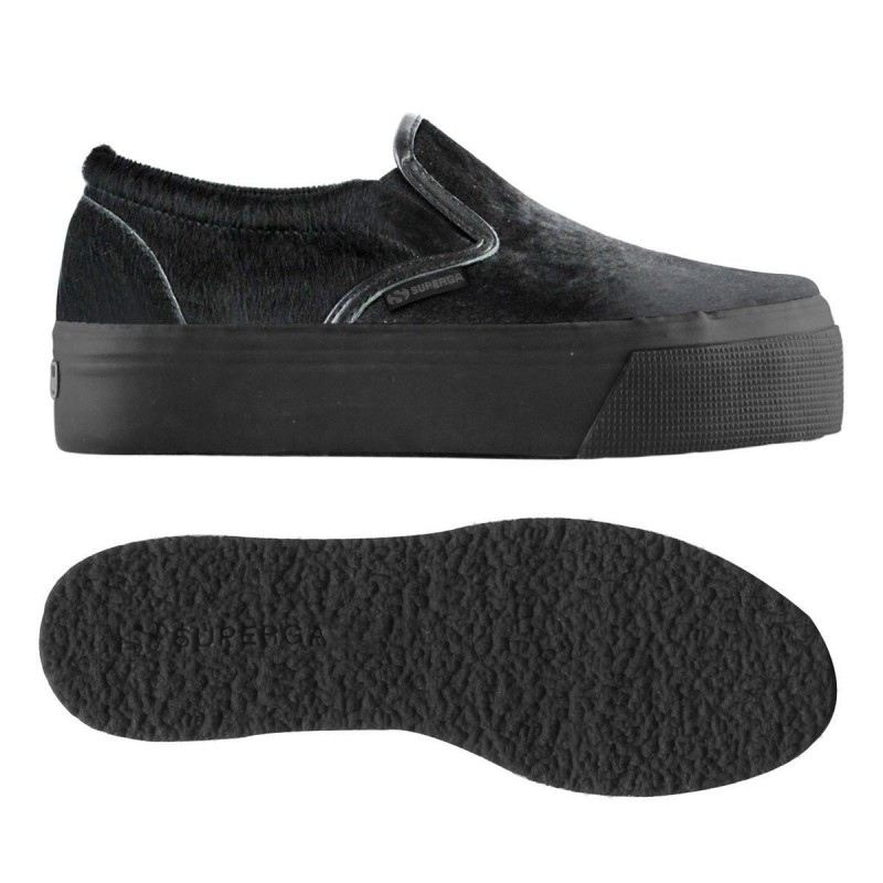 Superga slip on plataforma negras