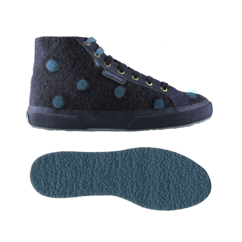 Superga mid top lana azul