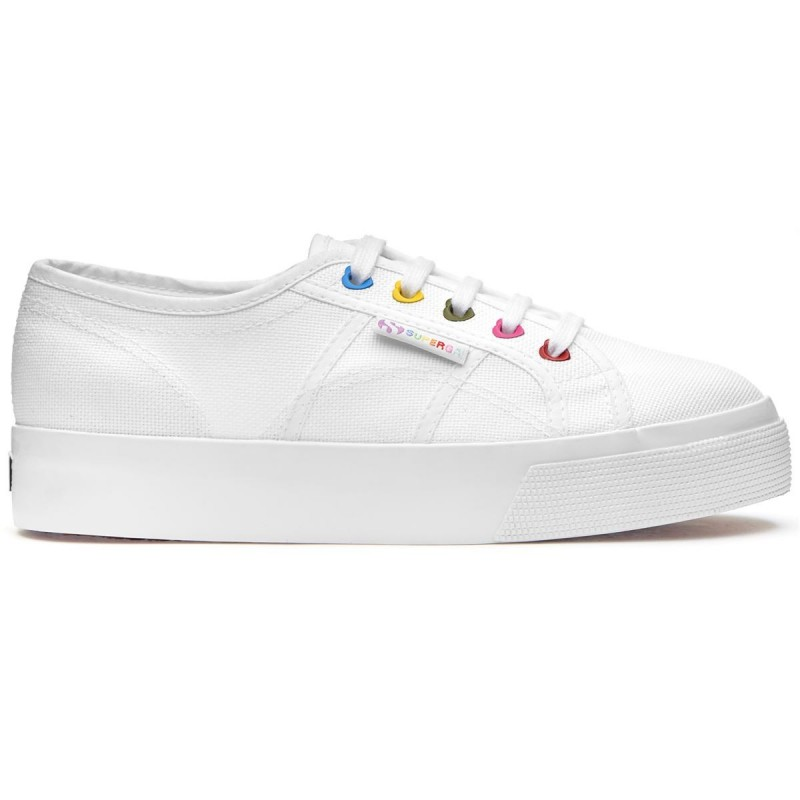 Superga plataforma blancas color hearts