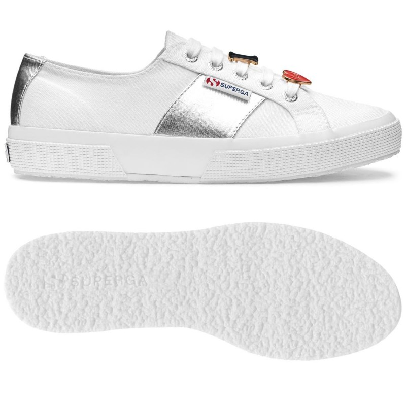 Superga 2750 blanca-plata accessories