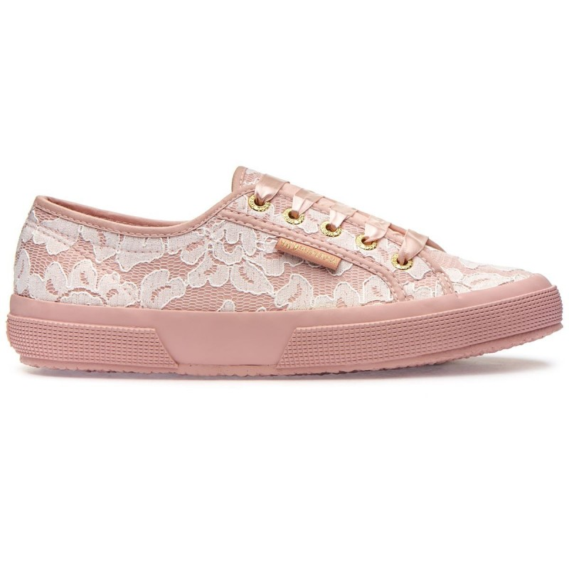 2750-SYNLEALACEW, 16127, LE SUPERGA S00C420 917 PINK ROSE-WHITE LACE