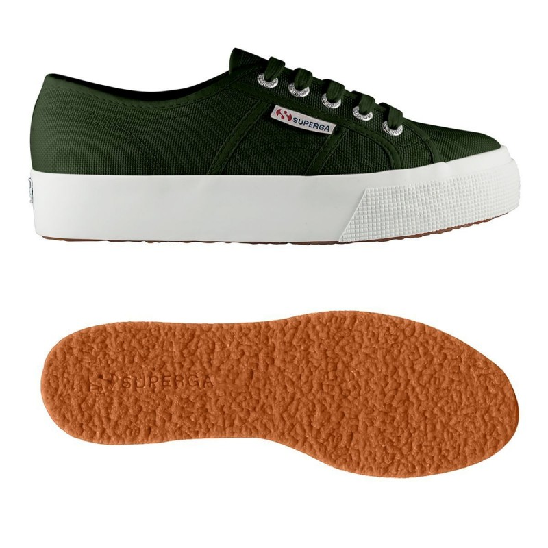 Superga plataforma up3 verde oscura