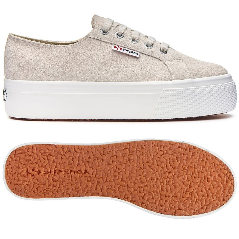SUPERGA PLATAFORMA SUEDE BLANCO CREAM