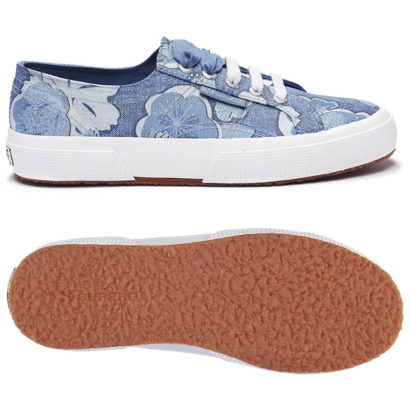 SUPERGA 2750 FABRIC LAME FLOWER S00FJ00 A25 BLUE-WHITE