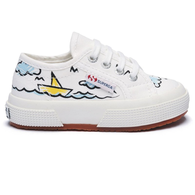 Superga Niño 2750 FANTASY COTJ  S001W90 L27 LITTLE BOAT WHITE