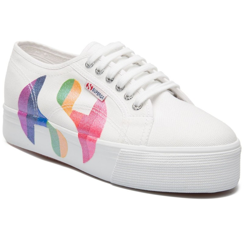 2790-COTWPRINTEDLOGOGLITTER, 20387, LADY SHOES S11181W L23 WHITE-MULTICOLOR