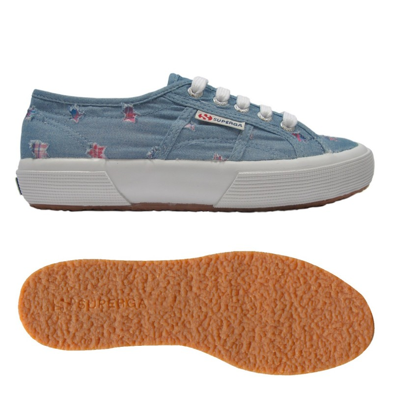 2750-FABRICDENIMSTARSW, 14358, LE SUPERGA S00BR60 F25 BLUE LT-FUX
